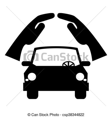 450x470 Simple Flat Design Car Silhouette Under Sheltering Hands Vector