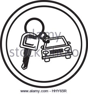 300x320 Silhouette Circular Border With Car And Key Vector Illustration