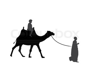 320x233 Silhouette Of Caravan Mit People And Camels Wandering Through