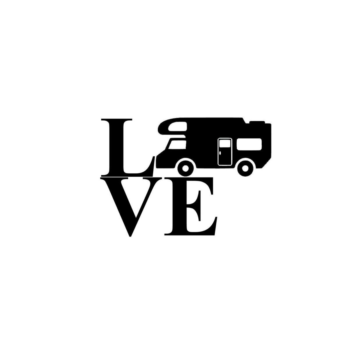 1206x1208 Vinyl Decal, Rv, Class C Camper Silhouette Love Vinyl Decal Can