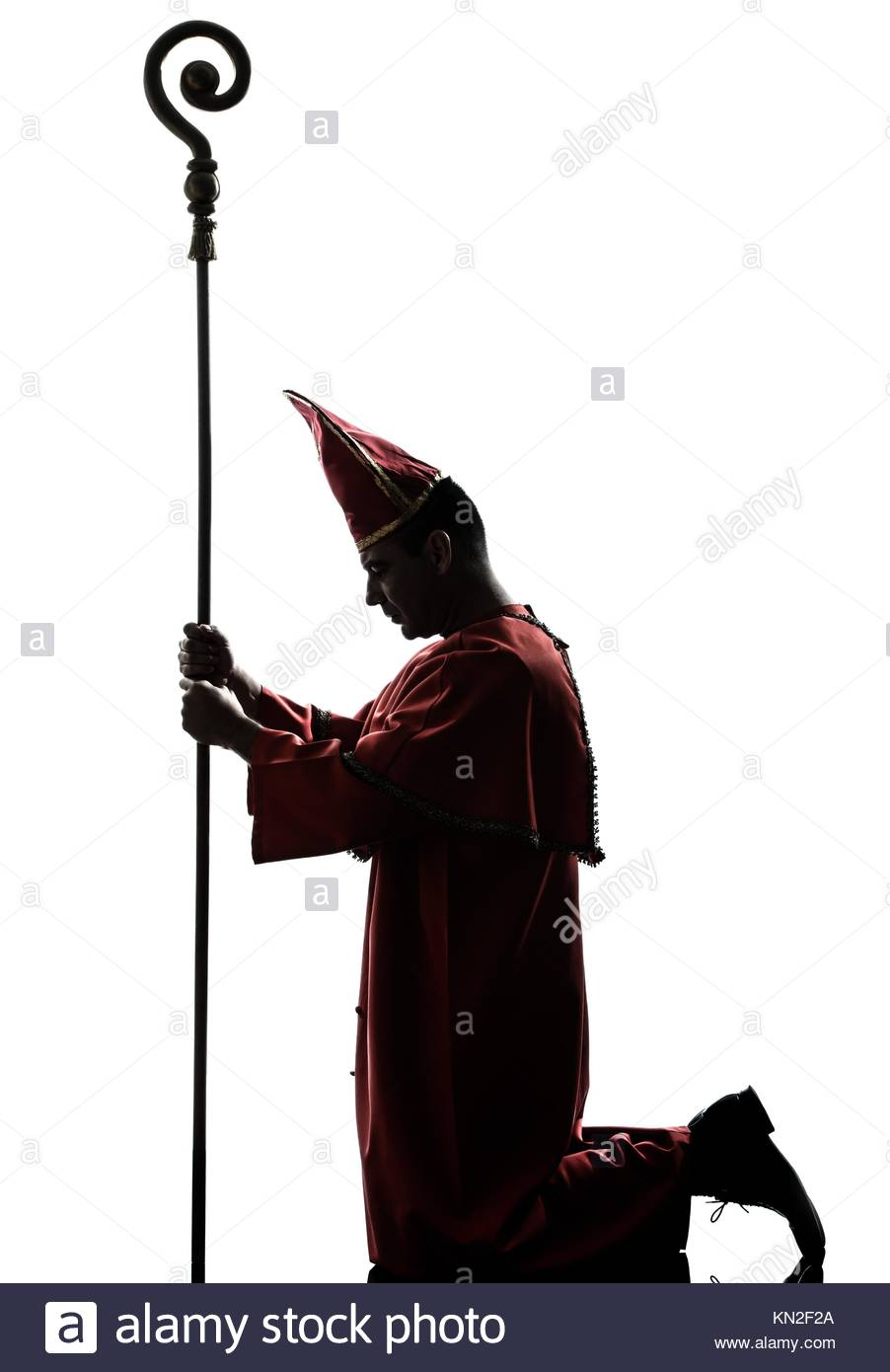 902x1390 One Man Cardinal Bishop Silhouette In Studio Isolated On White