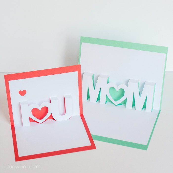 700x700 Mom, I Love You Pop Up Cards With Free Silhouette Cut Files