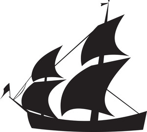 300x270 Silhouette Of A Ship In Water Royalty Free Stock Image