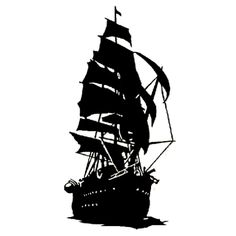 236x236 Vinyl Wall Decal Sticker Pirate Ship Silhouette 56inx36in Item