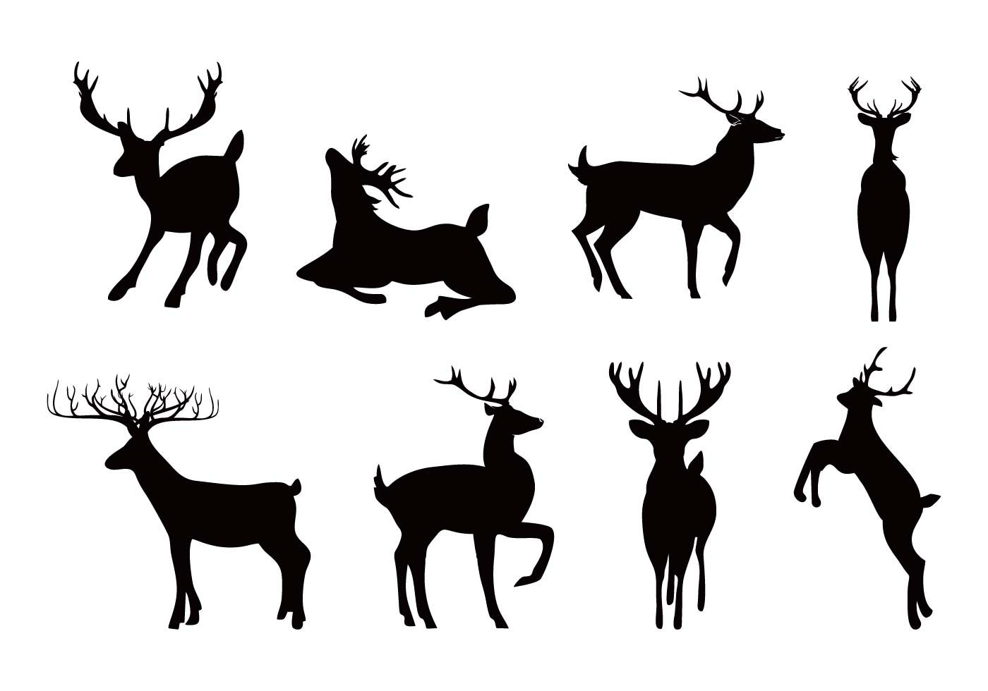 1400x980 Deer Or Caribou Silhouettes Vector