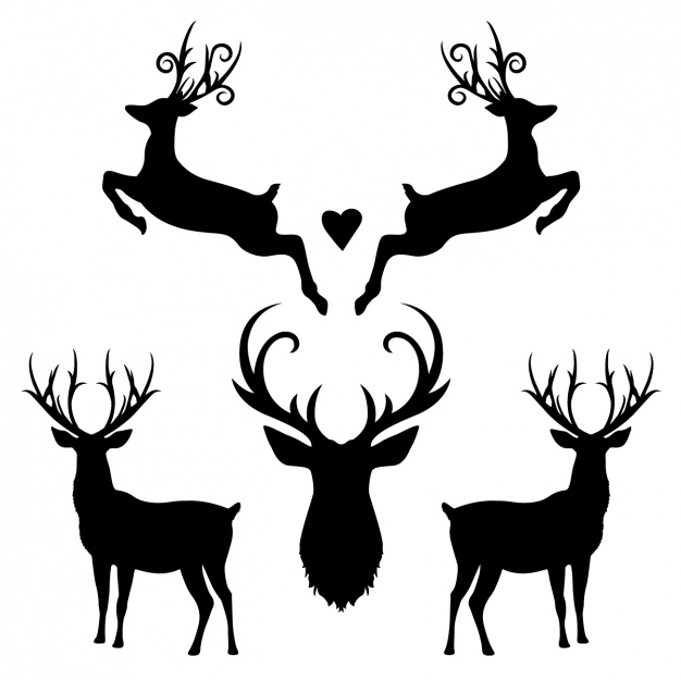 626x626 Deer Silhouette Collection Vector Free Download