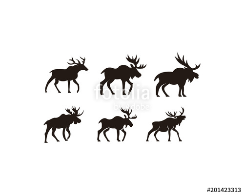 500x400 Horned Animals Silhouette Collection Deer Stag Moose Caribou