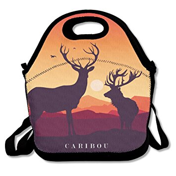 355x355 Caribou Sunset Silhouette Lunch Bag Adjustable Strap