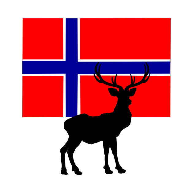 630x630 Norwegian Flag With Caribou Silhouette