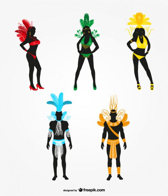 536x626 Carnival dancer silhouette Vector Free Download