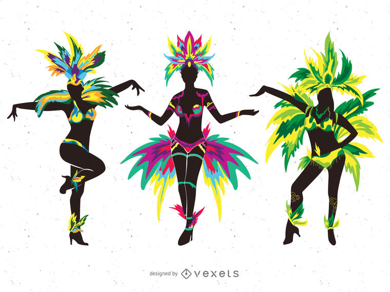 760x570 Carnival dancers silhouette illustrations