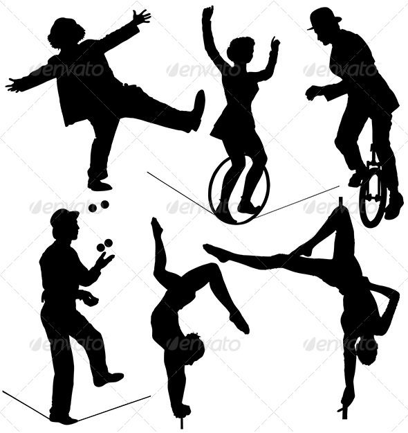 590x625 Circus Artist Silhouette Silhouettes, Circus theme and Carnival