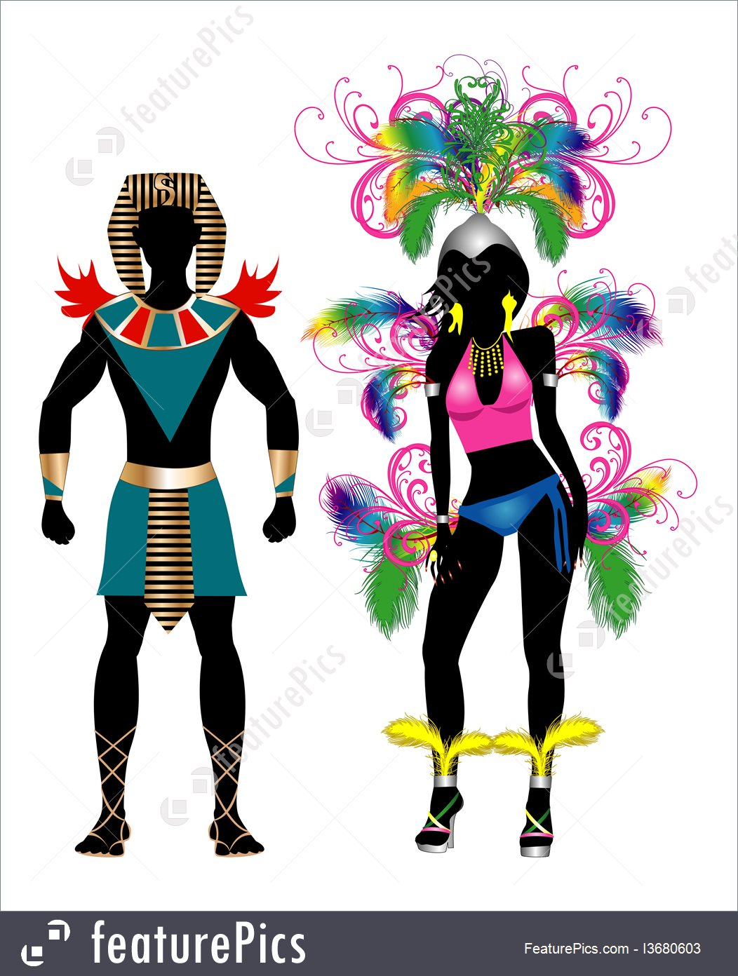 1052x1392 Illustration Of Carnival Silhouette Colorful Couple