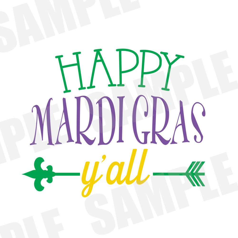 1000x1000 SVG DXF CommercialPersonal Use Happy Mardi Gras Y#39all Parade