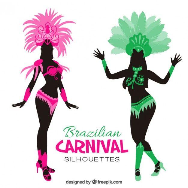 626x626 Brazilian carnival costume silhouettes Free Vector new vector