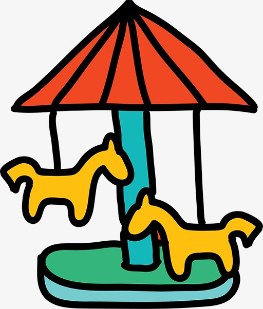 512x602 Stick Figure Carousel, Cartoon Carousel, Yellow Pony, Silhouette