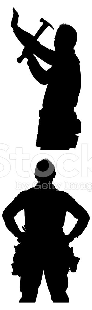 305x1024 Vector Silhouette Of The Carpenter Stock Vectors