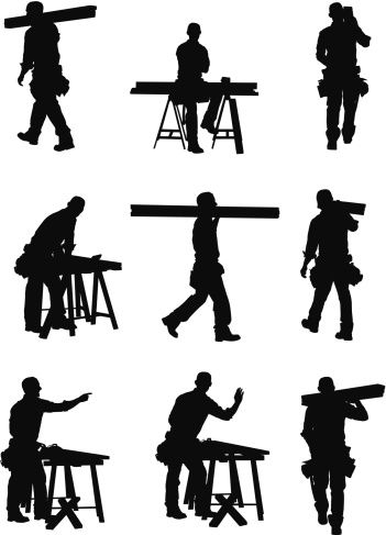 351x487 Vectores Libres De Derechos Multiple Images Of A Carpenter