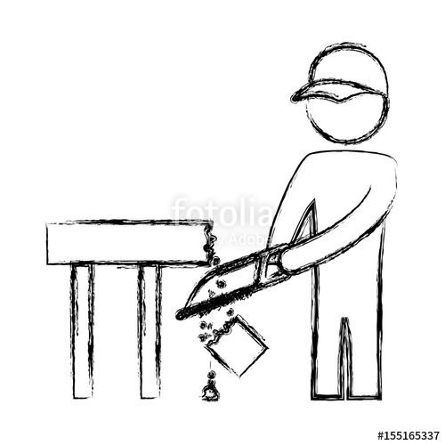500x500 Worker Carpenter Silhouette Icon Vector Illustration Graphic