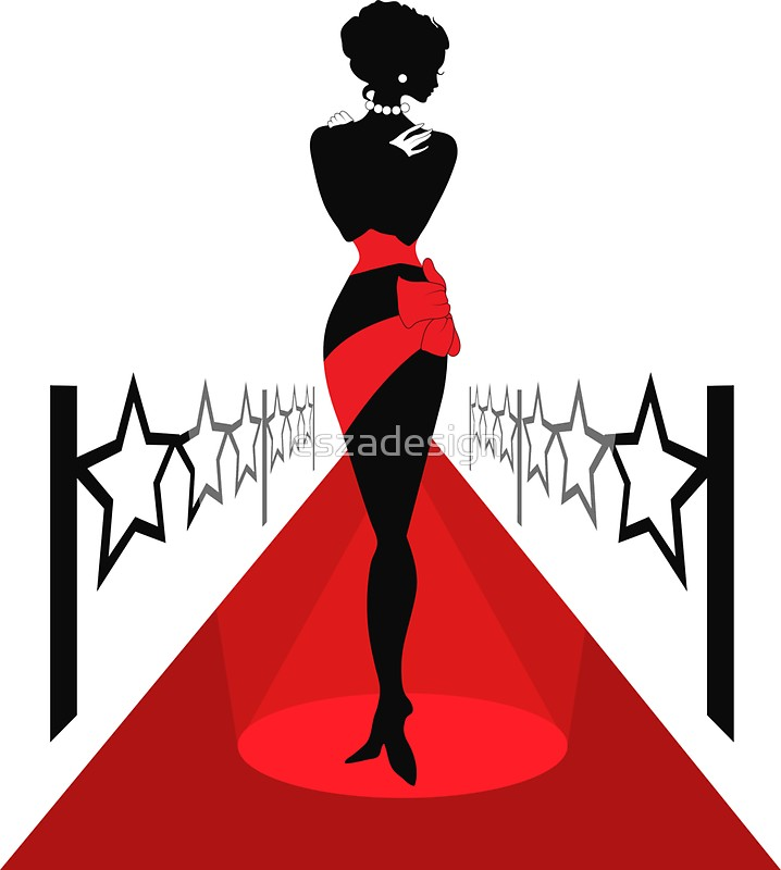 718x800 Woman Silhouette On A Red Carpet Stickers By Eszadesign Redbubble