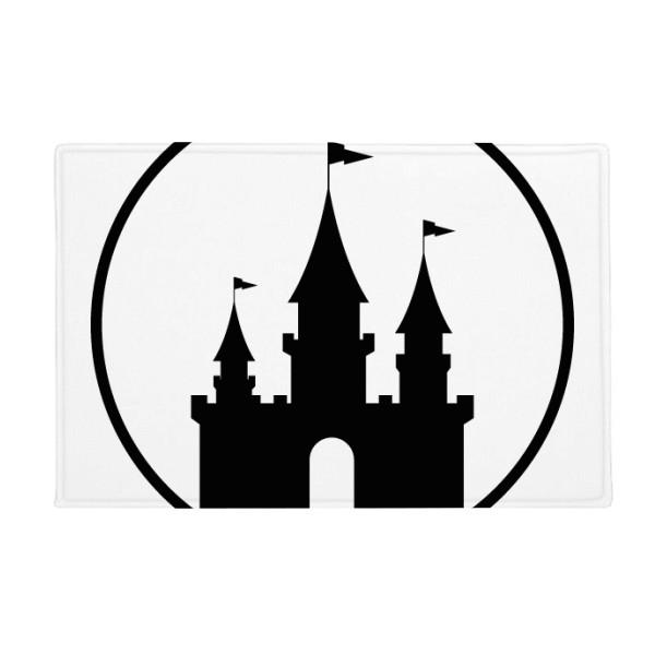 600x600 Amusement Park Castle Black Silhouette Anti Slip Floor Mat Carpet