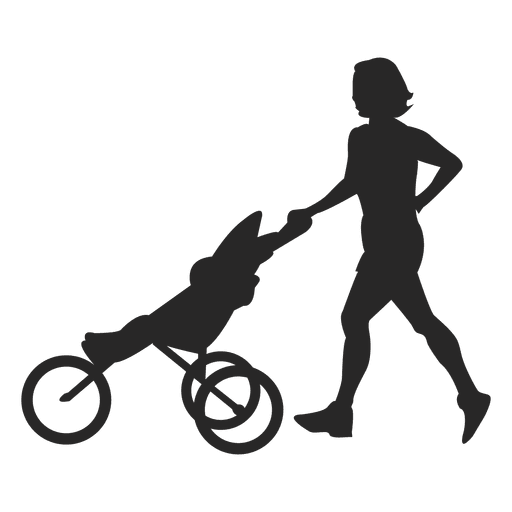 512x512 Mother Pushing Baby Carriage