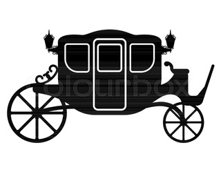 320x249 Silhouette Horse And Carriage With Coachman. Vector Illustration