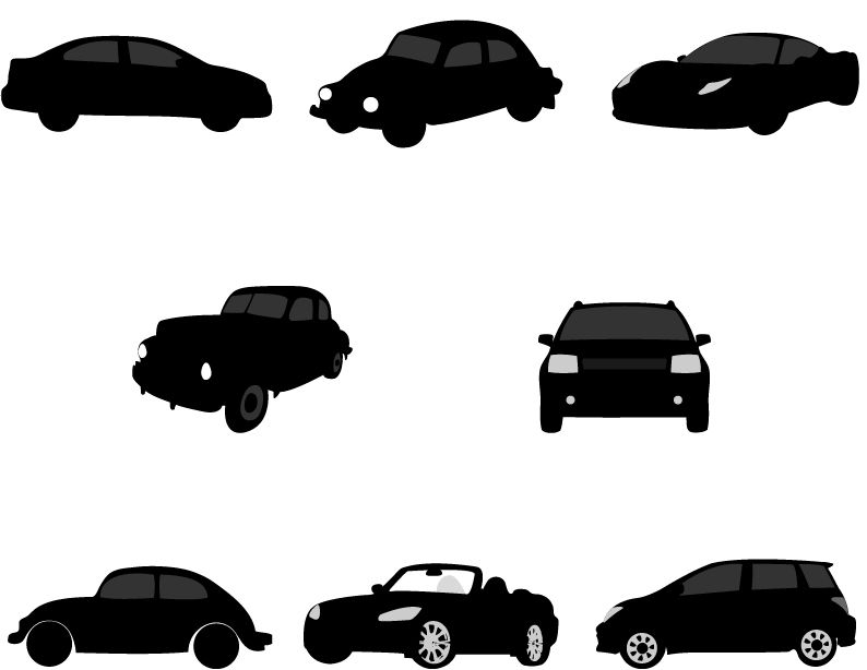 794x614 Car Silhouette Vector Graphics Pack