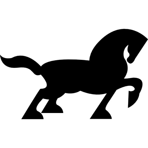 626x626 Big Black Horse Walking Side Silhouette With Tail And One Foot Up