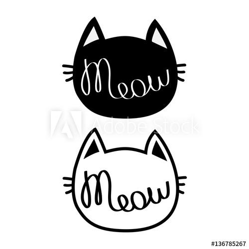 500x500 Black Cat Head Silhouette Contour Set. Meow Lettering Text. Cute