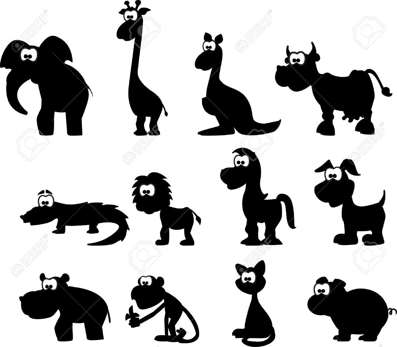 1300x1135 Cartoon Silhouettes Of Animals Royalty Free Cliparts, Vectors,