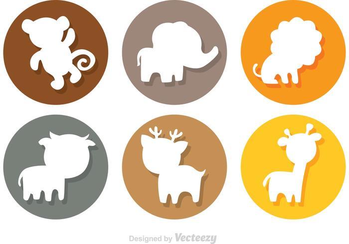 700x490 Animal Cartoon Silhouette Circle Icons