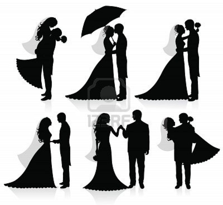 Cartoon Bride And Groom Silhouette