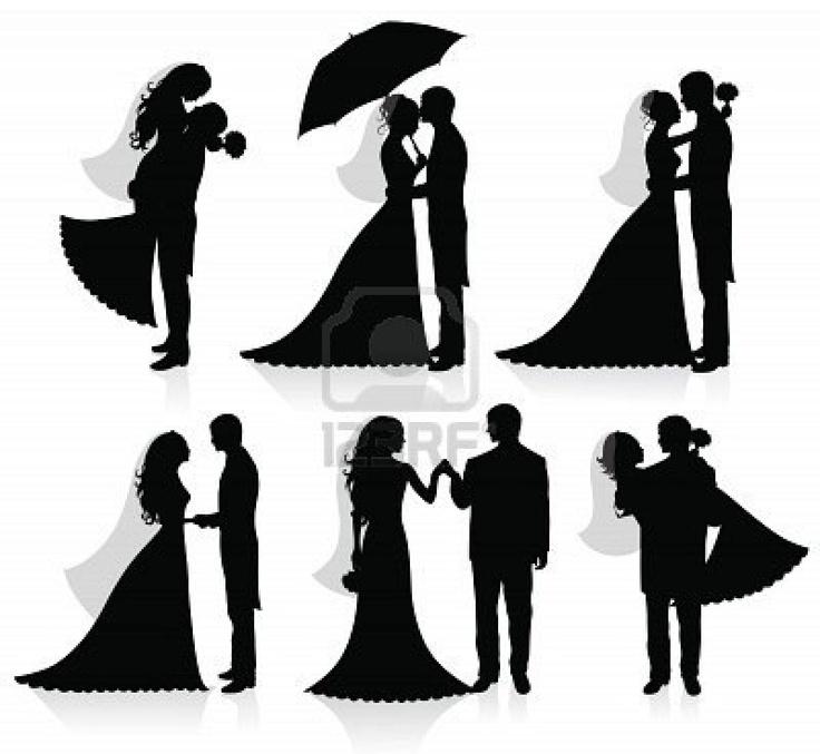 Cartoon Bride And Groom Silhouette