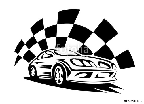 500x361 Racing Car With Checkered Flag Silhouette Stock Image And Royalty