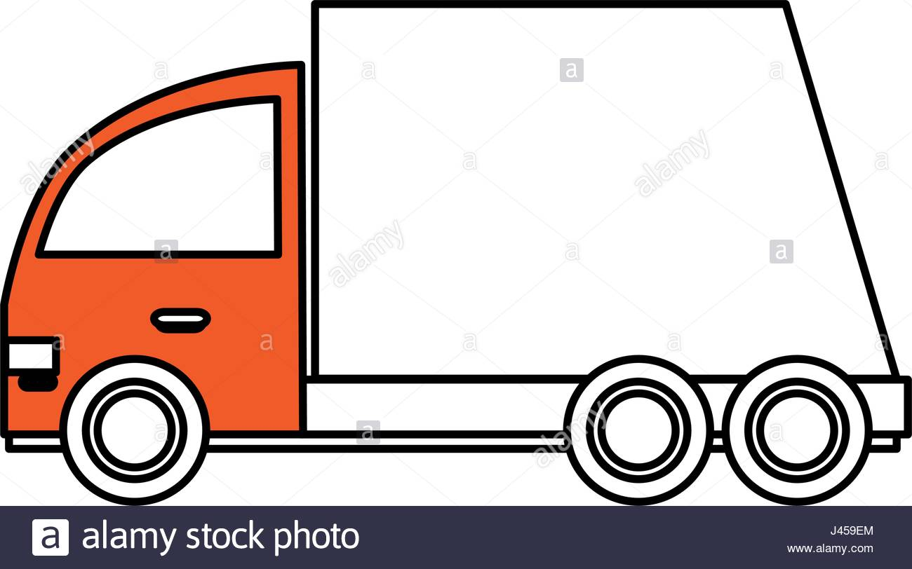 1300x812 Color Silhouette Cartoon Transport Truck With Wagon And Wheels