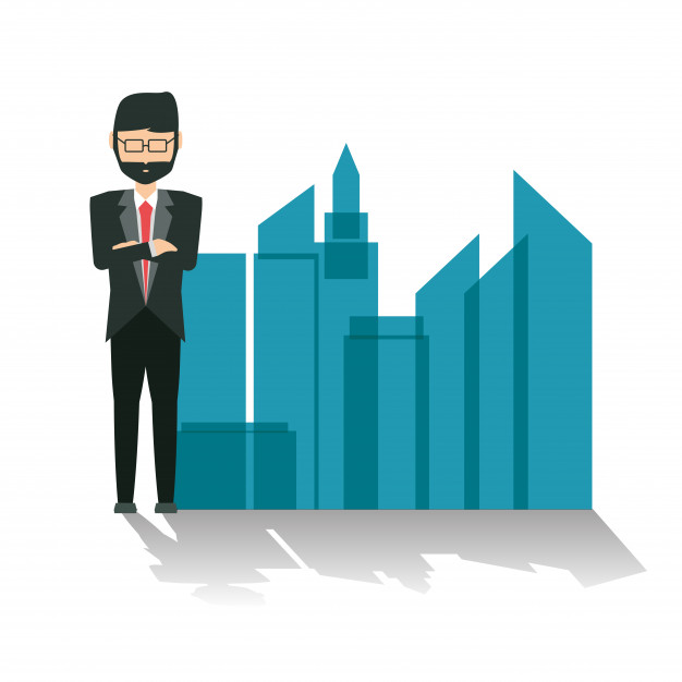 626x626 Cartoon businessman standing next to a city silhouette Vector