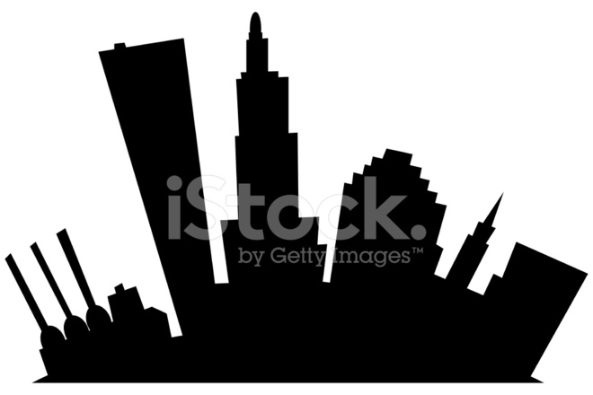 660x440 Silhueta DE Providência Cartoon City Stock Vector