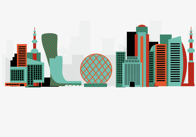 650x455 Vector Hand painted Cartoon City Silhouette, Vector, Hand Painted