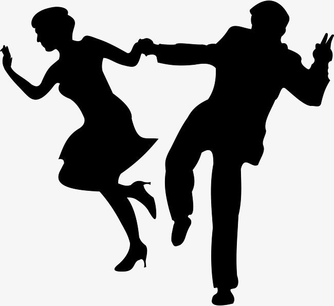 650x595 Black Romantic Double Cartoon Latin Dance Silhouette, Latin Dance