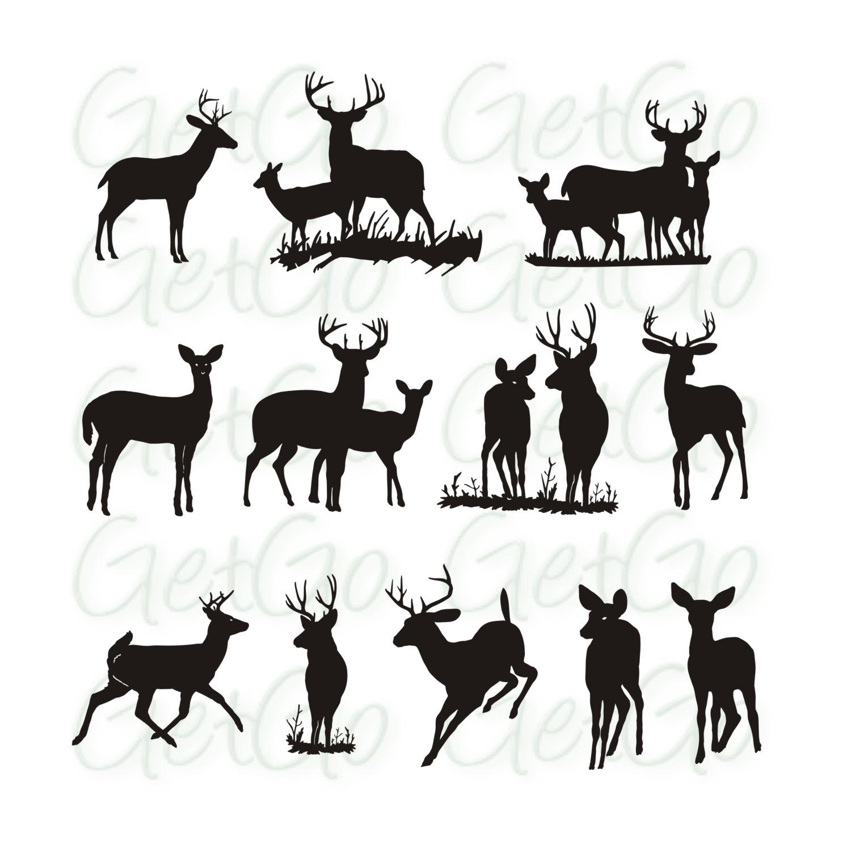 1500x1489 Deer Silhouette Printable Graphic Artwork Clip Art Vector