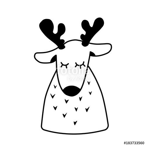 500x500 Deer. Christmas Reindeer Sleep. Cartoon Cute Character. Hand Drawn