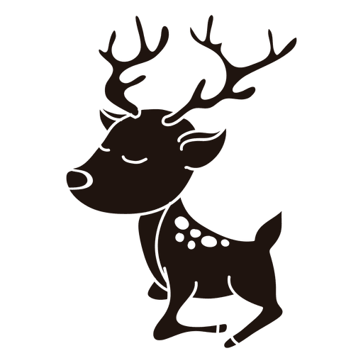 512x512 Reindeer Cartoon Silhouette Standing 21