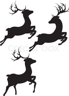232x320 Silhouette Of Deer Stock Vector Colourbox