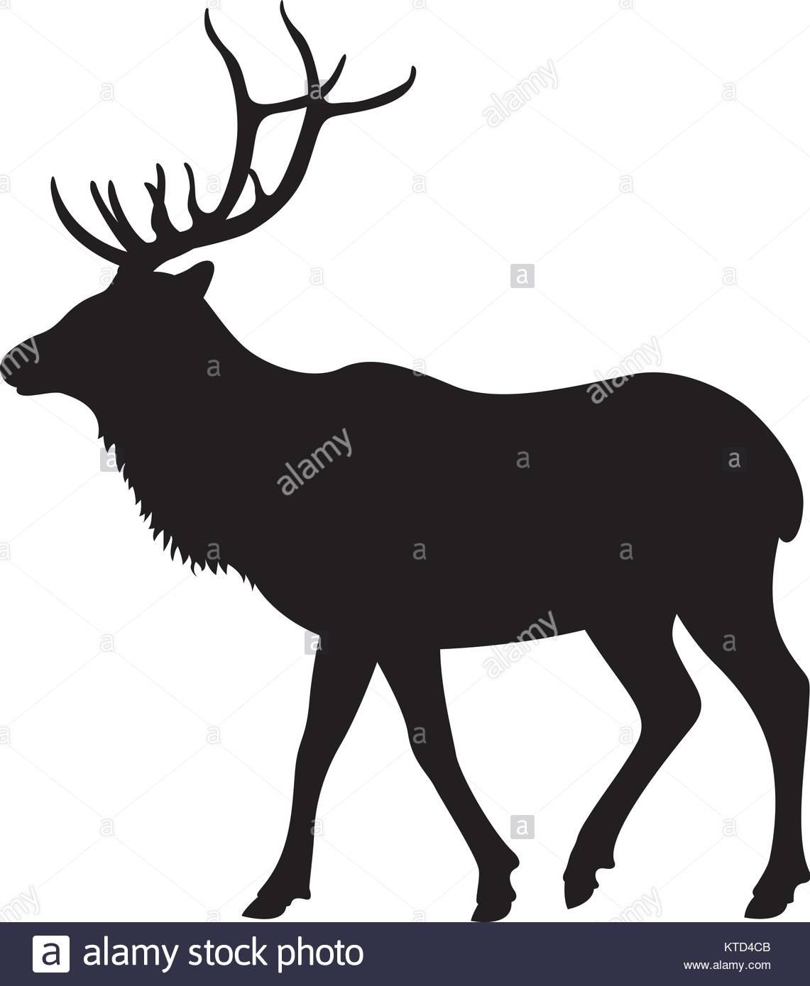 1141x1390 Big Deer Vector Illustration Black Silhouette Profile Side Stock