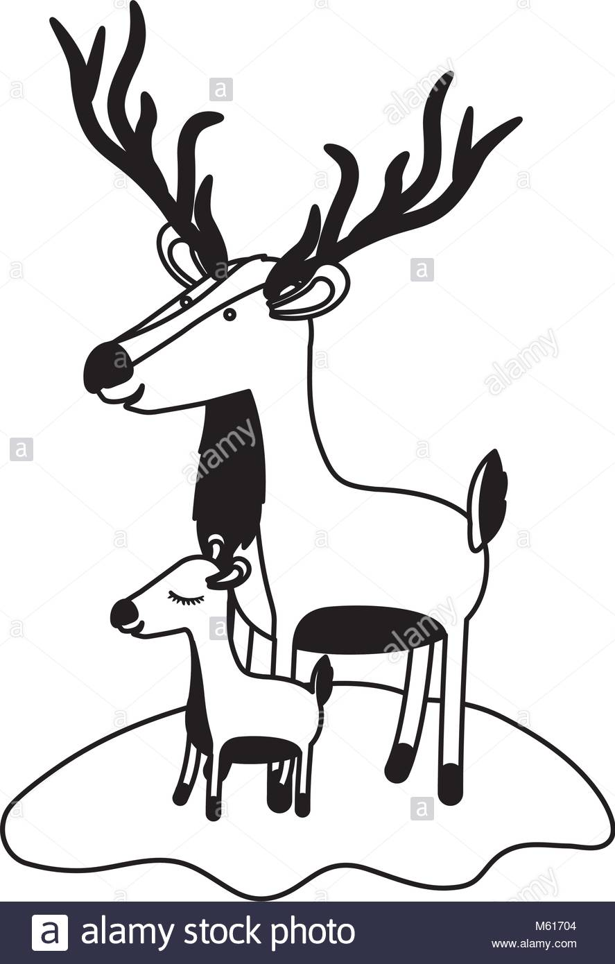 887x1390 Cartoon Deer And Calf Over Grass In Black Silhouette Stock Vector