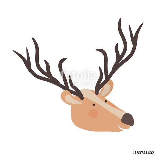 500x500 Deer Cartoon Head Colorful Silhouette In White Background Vector