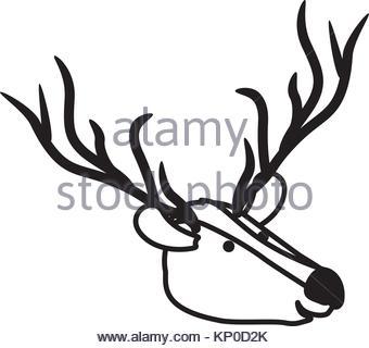 340x320 Deer Cartoon Head In Black Dotted Silhouette Stock Vector Art