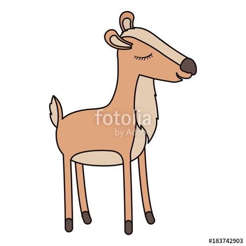 500x500 Female Deer Cartoon With Closed Eyes Expression Colorful
