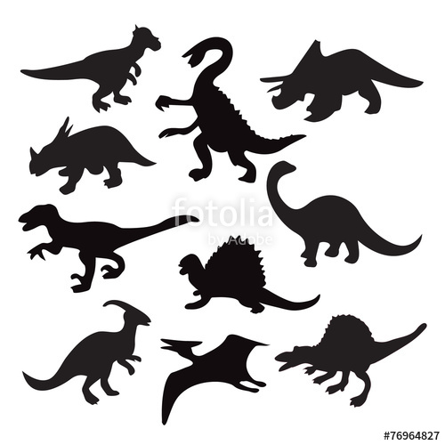 500x500 Different Dinosaur Silhouette Stock Image And Royalty Free Vector